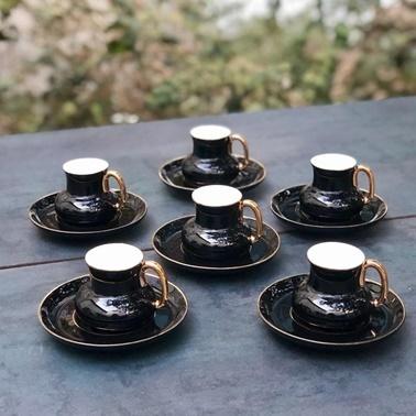 Acar Porselen 6lı Siyah Kahve Fincan Takımı Siyah